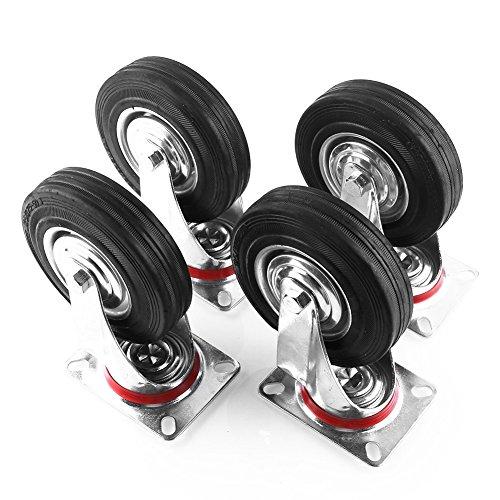 MVPOWER 5' Swivel Caster Wheels Dust Cover Rubber Hardwear Heavy Duty Castors- 4 Pack (5inch, black)