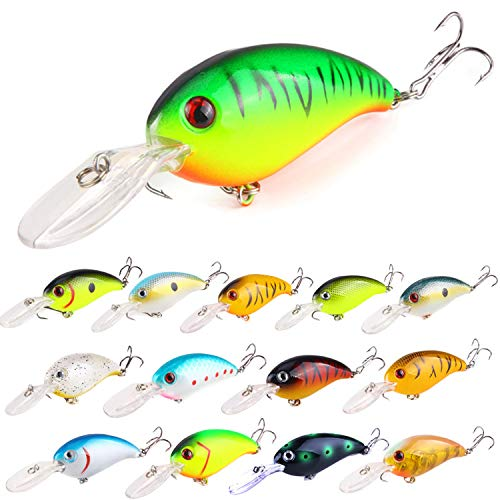 (ZWMING Bass Crankbait Fishing Lures Set,Diving Wobblers Artificial Bait with 3D Eyes,Lifelike Swimbait for Freshwater Saltwater Fishing,14pcs in Tackle Box)