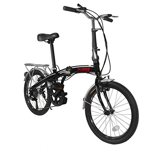 Xspec 20' 7 Speed City Folding Mini Compact Bike Bicycle Urban Commuter Shimano Black