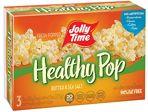 JOLLY TIME Healthy Pop Butter 94% Fat Free Microwave Popcorn, 3Count (Pack of 6)