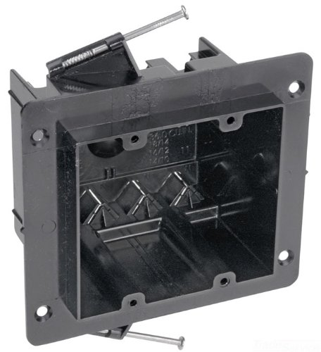 Carlon NG-236-V Outlet Box, New Work, 2 Gang, 3-1/2-Inch Length by 4-Inch Width by 3-1/4-Inch Depth, Black