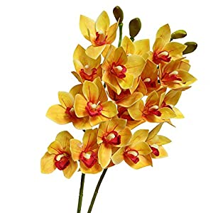 Htmeing 2pcs 10 Heads Artificial Cymbidium Orchids Flowers Plant Branches Stems for Wedding Centerpieces Floral Arrangement (Orange) 105