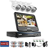 House Security Camera System, SANNCE 4CH 1080N DVR Recorder and 4x720P 1.0MP Outdoor Weatherproof Dome Security Camera, 66ft Night Vision, Email Alarm,Phone Access, NO Hard Drive