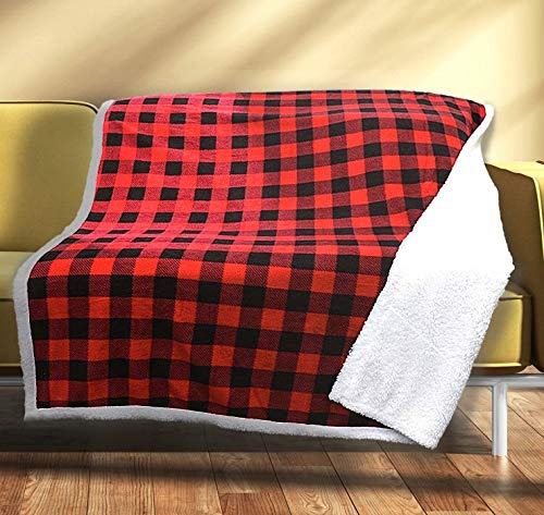 Sunbeam Electric Throw Reversible Imperial Plush with Sherpa Plaid Red and Black on White Sherpa Premium Sherpa and Ultra Soft with 3 Heat Settings and 3 Hour Auto-off 50 x 60