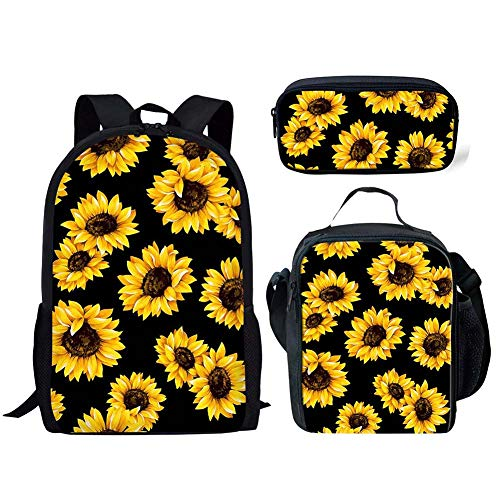 FANCOSAN 3 Piece Backpack Set,Yellow Blooming Sunflowers Black Print School Bags Boy Girl Daypack Lunch Box