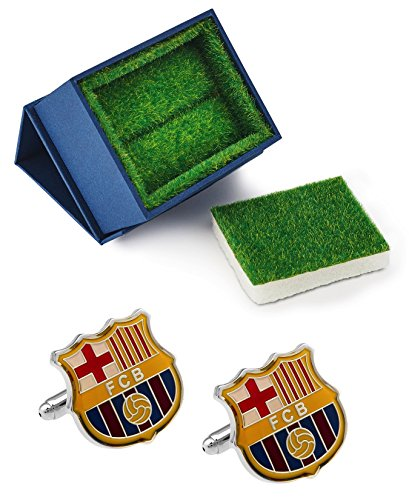 Cufflinks Logo Gift - Barcelona Futbol Club Logo Cufflinks with Grass Like Gift Box - Soccer Football