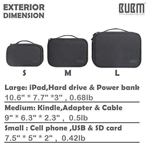 Travel Electronics Organizer Bag - BUBM Portable 3 pcs/Set Gadget Carrying Storage Bag,Cable Organizer Cases for USB Cables, Hard Drive,Memory Card,Power Bank,External Flash,2 Year Warranty by BUBM (Image #4)