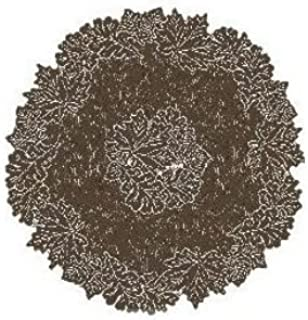 product image for Heritage Lace Leaf 36-Inch Round Table Topper, Earth