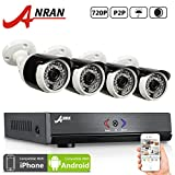 ANRAN 4CH 720P DVR Security Camera System with 4pcs 720P AHD 1800TVL 36 IR Night Vision Outdoor Home Video Surveillance CCTV Bullet Camera No hard drive