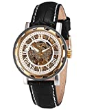 KS Royal Carving Skeleton Automatic Mechanical White Dial Black Leather Band Sport Watch KS081