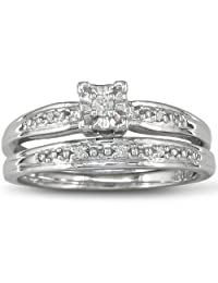 Diamond Bridal Engagement Wedding Ring Set Crafted in Sterling Silver, Availa...