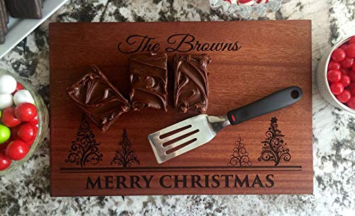 Personalized Holiday Cutting Board. Kitchen Christmas Gifts for Couples - Also Hostess and Housewarming Gift (10 x 15 Mahogany Rectangular, Browns Christmas Design) -
