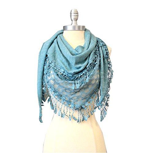 riangle Knit & Lace Fashion Scarf (AQUA) ()