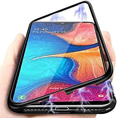 Carcasa Compatible con Samsung Galaxy A20e, Funda de Fuerte Adsorción Magnética Súper Delgada Marco de Metal de Vidrio Templado Transparente con Cubierta Magnética Incorporada Caso: Amazon.es: Electrónica