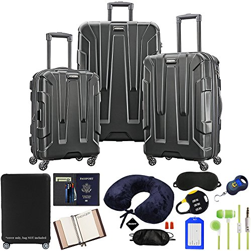 (Samsonite Centric 3-Piece Nested Luggage Set, Black with Luggage Accessory Kit)