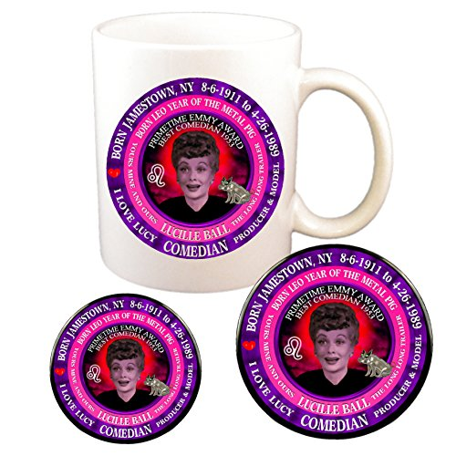 Lucille Ball Comedian Cup + Magnet + Pin, Astrology Leo Zodiac Metal Pig