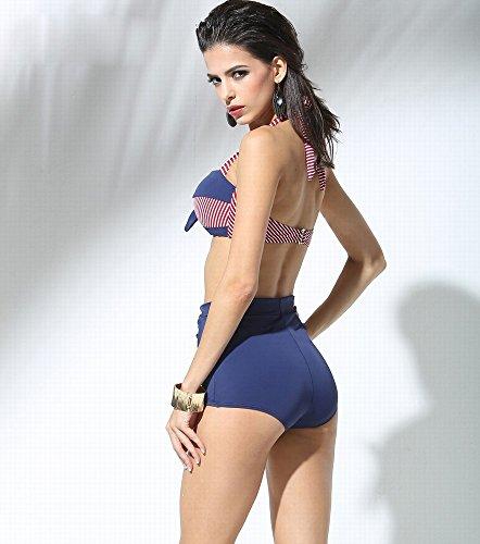 Dhg Maillots De Sexy bleu xxxl Bain Stripe Haute Taille Lady Slips Bikini Mode Classique Imprimer xthCQsrd