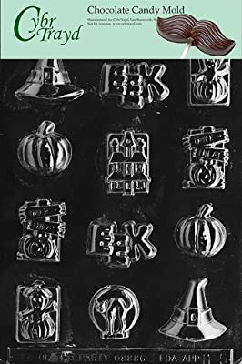 Cybrtrayd Life of the Party H005 Halloween Assorted with Hat Chocolate Candy Mold in Sealed Protective Poly Bag Imprinted with Copyrighted Cybrtrayd Molding Instructions