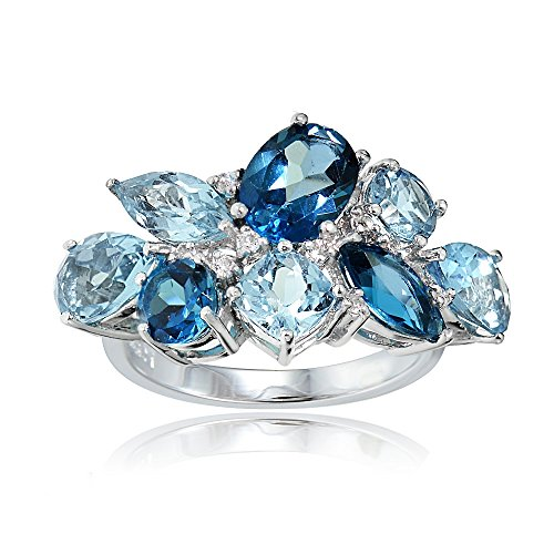Ice Gems Sterling Silver Genuine London Blue, Blue Topaz, and White Topaz Cluster Tonal Ring