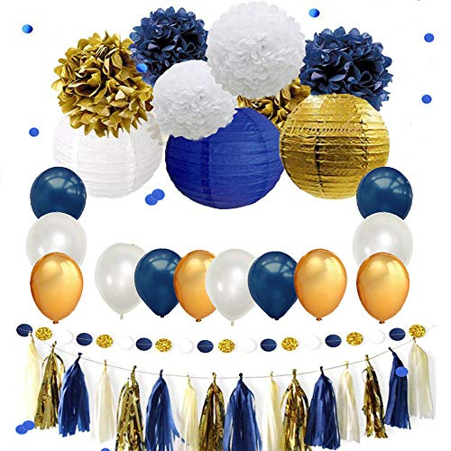 Navy Blue Gold Party Decoration Kit,DIY Nautical Party Decorations Supplies Pom Poms Lanterns Balloons Confetti Tassel Garland Party Wedding Bridal Baby Shower]()