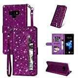 ZCDAYE Galaxy S7 Edge Wallet Case,Bling Glitter Sparkly Zipper PU Leather Magnetic Flip Folio Card Pockets Holder with Wrist Strap Stand Protective Case Cover for Samsung Galaxy S7 Edge - Purple