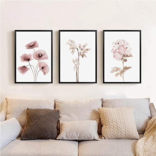 植物の花のポスターと版画ギャラリーウォールアートキャンバス絵画植物壁の写真リビングルーム用家の装飾A4 21x30 cmフレームなし