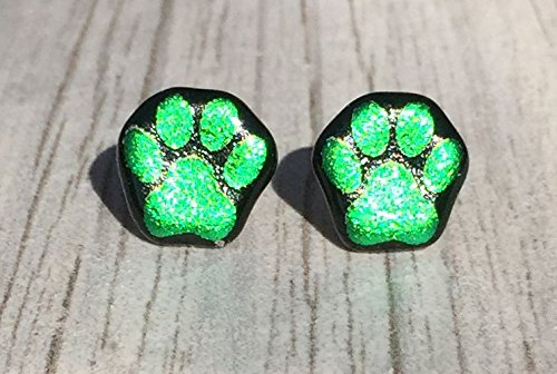Green Dichroic Glass Earrings (Dichroic Fused Glass Stud Earrings - Green Paw Print Laser Engraved Etched Studs with Solid Sterling Silver Posts)