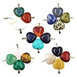 ABOSS 20 Pieces Natural Stone Heart Shape Pendant Healing Chakra Charms Bulk for DIY Necklace Earring Jewelry Making