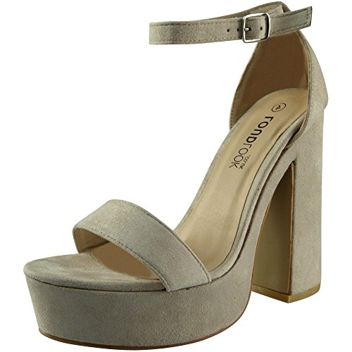 Heel Strap Chunky Ladies Sandals Block Look 3 Size Party Platform Loud Beige Ankle 8 Suede Shoes Womens wxqC8UgxI