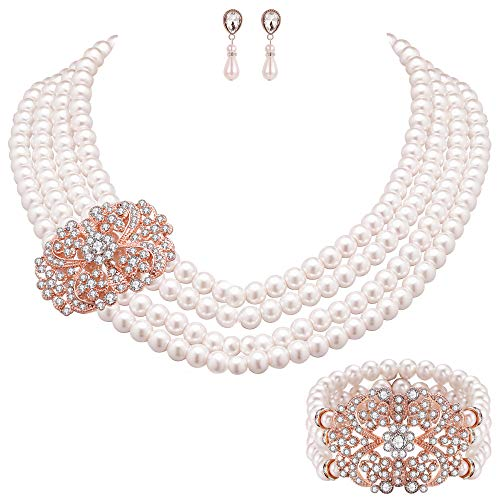 Coucoland Audrey Hepburn Inspired Pearl Necklace Inspired by Breakfast at Tiffany's 1920s Gatsby Imitation Pearls Necklace with Crystal Brooch Bridal Pearl Jewelry Sets (Rose Gold ()
