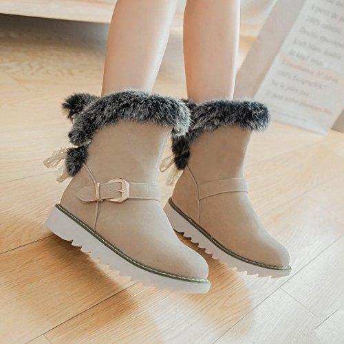 Shoes Slip on Women's Flats Warm Fur Short Round Straps Beige Toe Faux Boots Summerwhisper Buckle Suede Snow ZwvwqdP