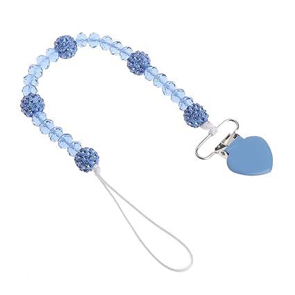 MIsha cadena chupetes Cadena de chupete de cuentas de cristal en forma de corazón Clip de metal(Azul)