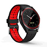 Asdf Smart Watch GPS Positioning Step By Step Bluetooth Camera Sleep Monitoring Music Sedentary Reminder Watch Round Screen (Color : Red)