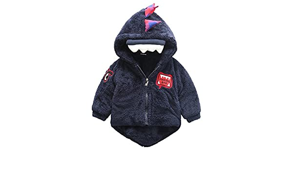 KONFA Toddler Baby Boys Girls Winter Warm Clothes,Cartoon Elephant Hooded Coat,Kids Outerwear Cotton Jacket Set,for 0-3 Years