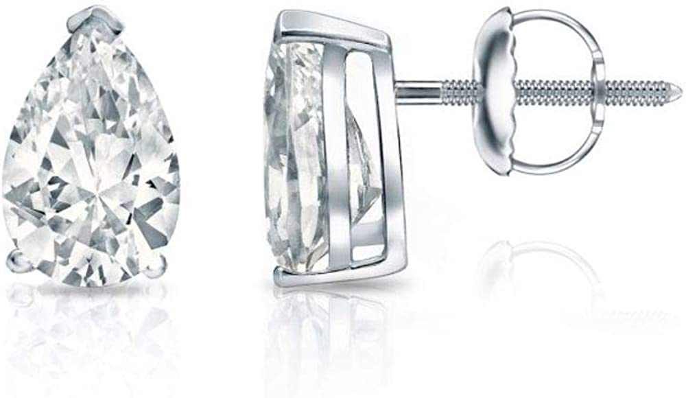 1.00 ct Pear Cut Brilliant CZ Solitaire Stud Earrings in 14k White Gold Brilliant Cut Basket Screw Back