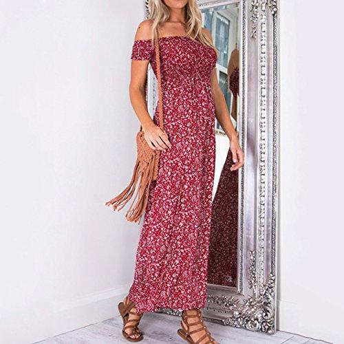 Vestido Vestidos Floral Mujer XINGMU De De Rojo Lateral Playa Split Ropa Verano pqUT1