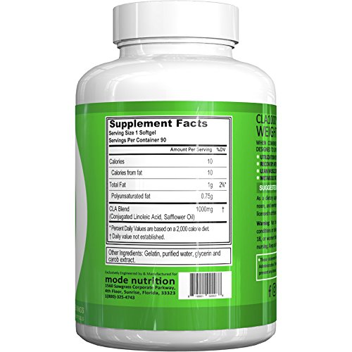 mode nutrition CLA 1000 Conjugated linoleic acid, 90 Serving Soft Gel, Weight Loss Supplement, Stimulant Free Fat Burner