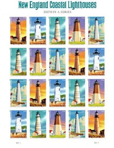 New England Coastal Lighthouses Sheet of 20 U.S. Postage Forever Stamps