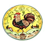 CERAMICHE D'ARTE PARRINI - Italian Ceramic Art Pottery Plate Flat Dish Rooster Gaul Hand Painted Made in ITALY Tuscan