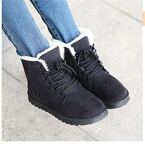 Très Chic mai Landa neige Bottes schnuerer Chaussures d'hiver court Bottines pour femme schnuer Chaussures Bottes d'hiver pour femme gefuettert avec fourrure - Noir - Noir,