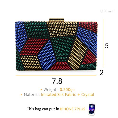 Multicoloured Handbags Clutches 1 Bags Evening Women Party Crystal Wedding Clutch Purse vqwqf8C