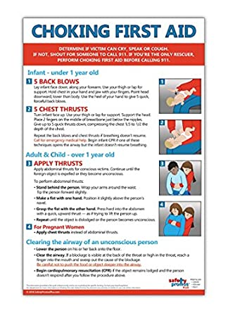 picture about Printable Pocket First Aid Guide named Choking Initially Guidance Poster - 12 x 18 inside. - Laminated - Directions for Toddlers, Small children, and Grownups