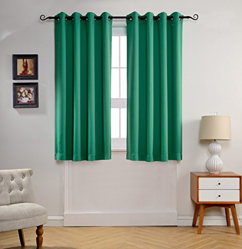 MYSKY HOME Solid Grommet top Thermal Insulated Window Blackout Curtains for Doors, 52 by 63 inch, Green (1 panel) (Door Curtain Panels Solid compare prices)
