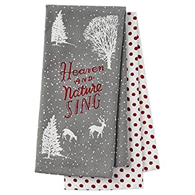 Hallmark Holiday Home Decor: Set of Two  Nature Sings  Gray/Red Polka Dot Tea Towels Gift Set