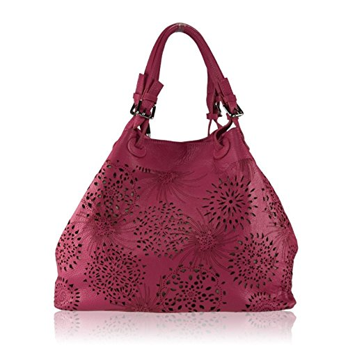 ZETA SHOES Borsa a Spalla Donna in Vera Pelle Made in Italy Laser 40x30x18 MainApps Fuxia