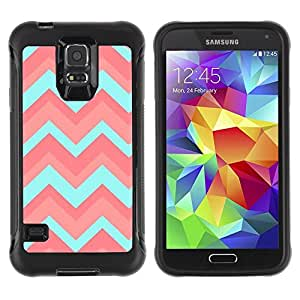 Suave TPU Caso Carcasa de Caucho Funda para Samsung Galaxy S5 SM-G900 / Teal Pink Pattern Zig Zig / STRONG