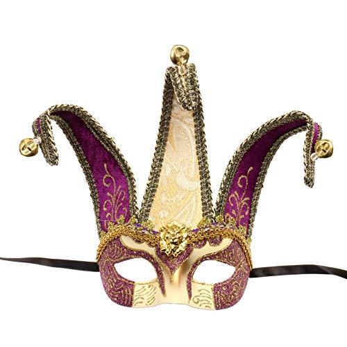 ILOVEMASKS Jester Joker Venetian Half Face Mask with Bells - Gold Purple