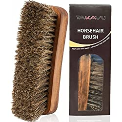 """TAKAVU 6.7"""" Horsehair Shoe Shine Brush with Horse Hair Bristles for Boots, Shoes & Other Leather Care (#1)"""
