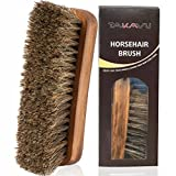TAKAVU 6.7'' Horsehair Shoe Shine Brush with Horse Hair Bristles for Boots, Shoes & Other Leather Care (#1)