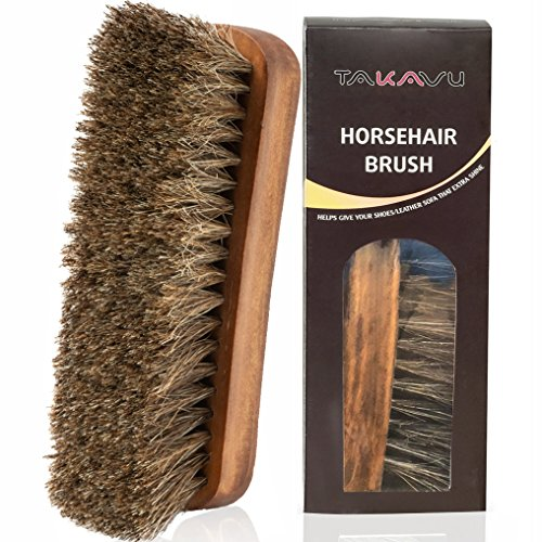 "TAKAVU 6.7"" Horsehair Shoe Shine Brush - 100% Soft Genuine Horse Hair Bristles - Unique Concave Design Wood Handle - Comfortable Grip, Anti Slip - for Boots, Shoes & Other Leather Care (#1)"